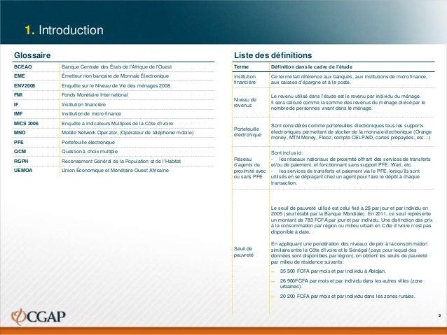 1. Introduction Glossaire  Liste des définitions  BCEAO  Banque Centrale des États de l'Afrique de l'Ouest  Terme  Définit...