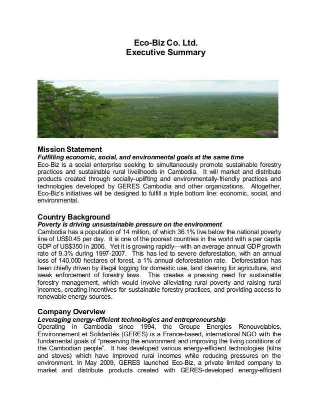 Mission Statement Fulfilling economic, social, and environmental goals at the same time Eco-Biz is a social enterprise see...