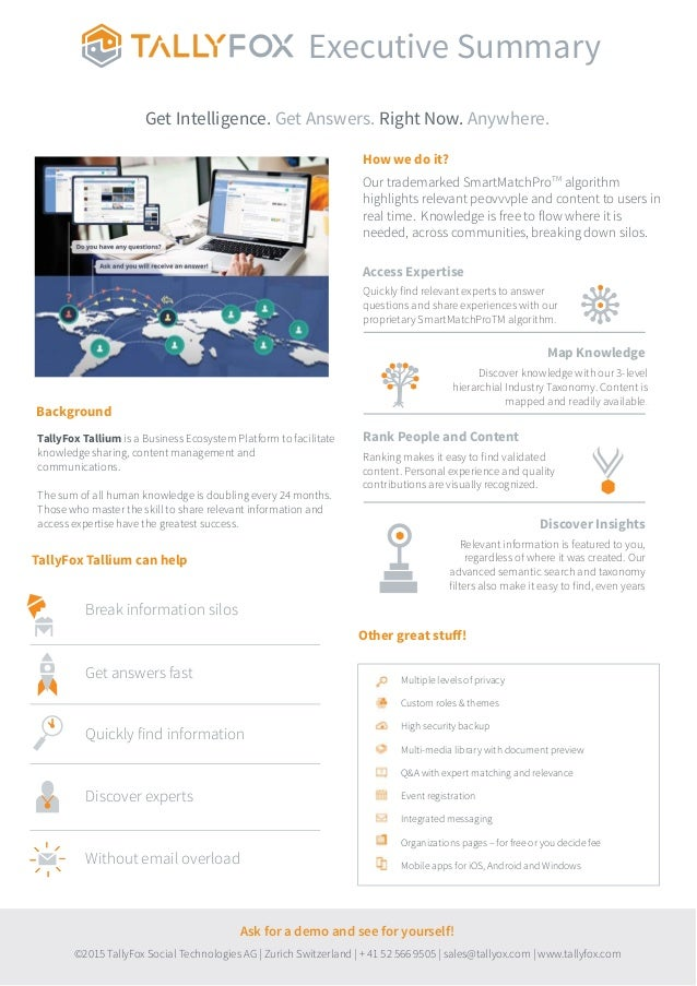 TallyFox Tallium is a Business Ecosystem Platform to facilitate knowledge sharing, content management and communications. ...