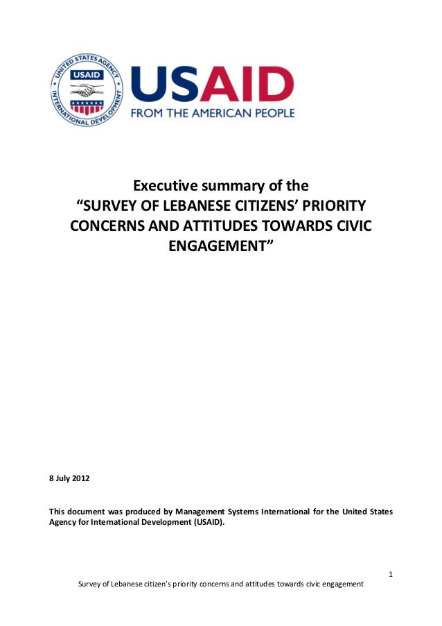 """Executive summary of the      """"SURVEY OF LEBANESE CITIZENS' PRIORITY     CONCERNS AND ATTITUDES TOWARDS CIVIC             ..."""