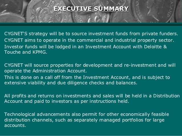 executive summary presentation example