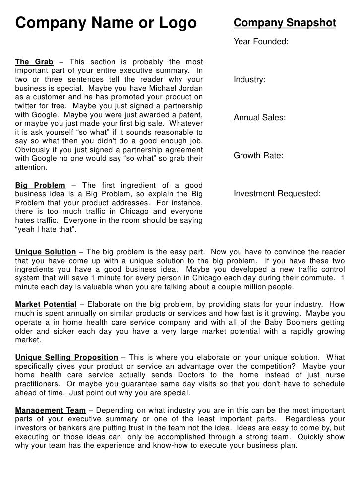 Business Summary Template Venturecapitalupdatecom - Business plan template examples