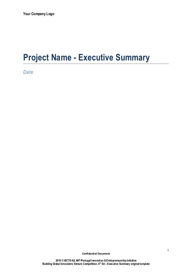 Your Company LogoProject Name - Executive SummaryDate                                                                     ...