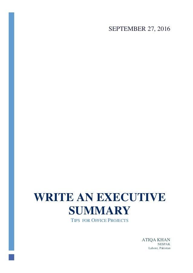 Executive Summary Tips 2016