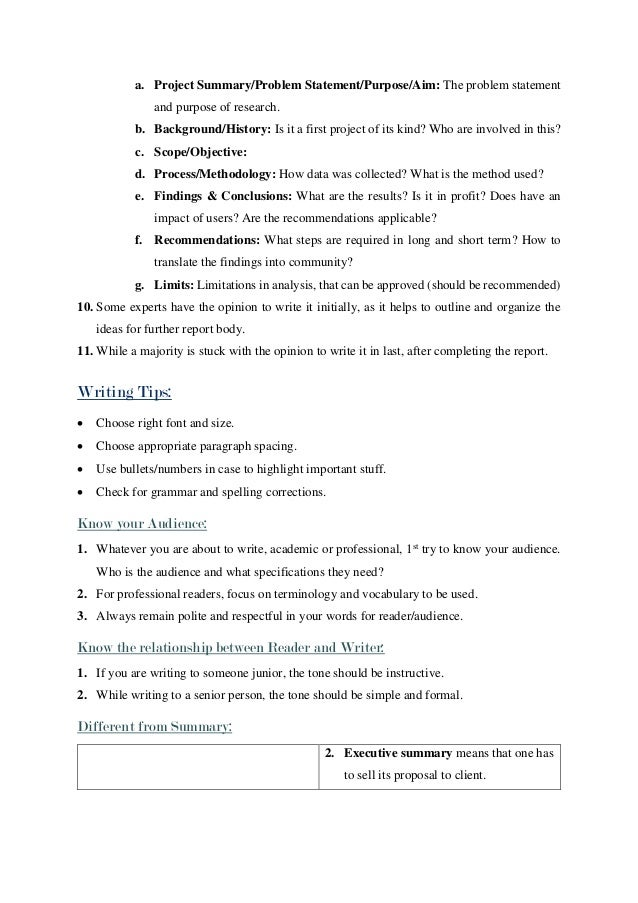 ... 3. A. Project Summary/Problem ...  Executive Summary Format For Project Report