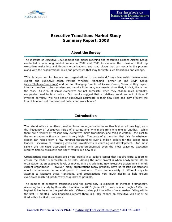 Executive Transitions Market Study                            Summary Report: 2008                                        ...