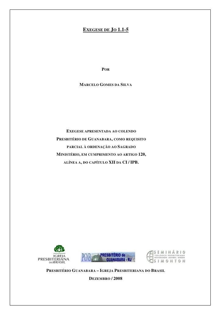 EXEGESE DE JO 1.1-5                               POR                  MARCELO GOMES DA SILVA              EXEGESE APRESEN...