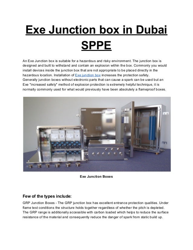 Exe Junction Boxes in Dubai - SPPE