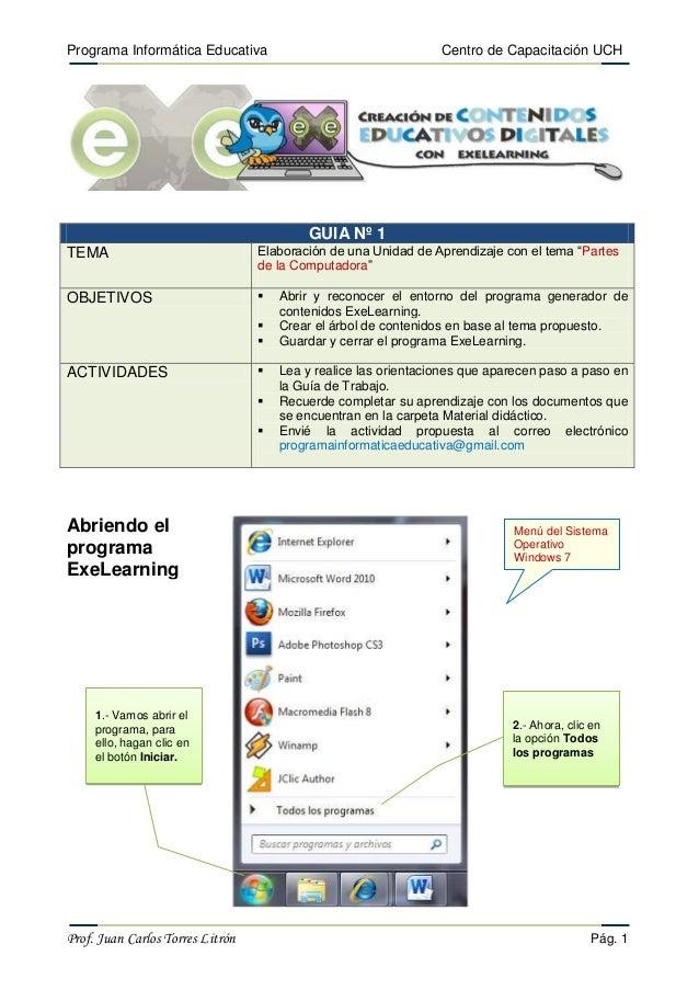 Programa Informática Educativa  Centro de Capacitación UCH  GUIA Nº 1 TEMA  Elaboración de una Unidad de Aprendizaje con e...