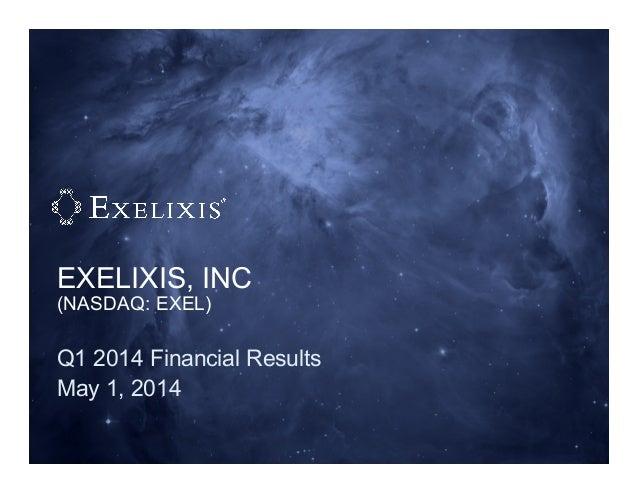 EXELIXIS, INC (NASDAQ: EXEL) Q1 2014 Financial Results May 1, 2014