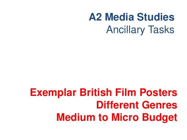 A2 Media Studies              Ancillary TasksExemplar British Film Posters             Different Genres    Medium to Micro...