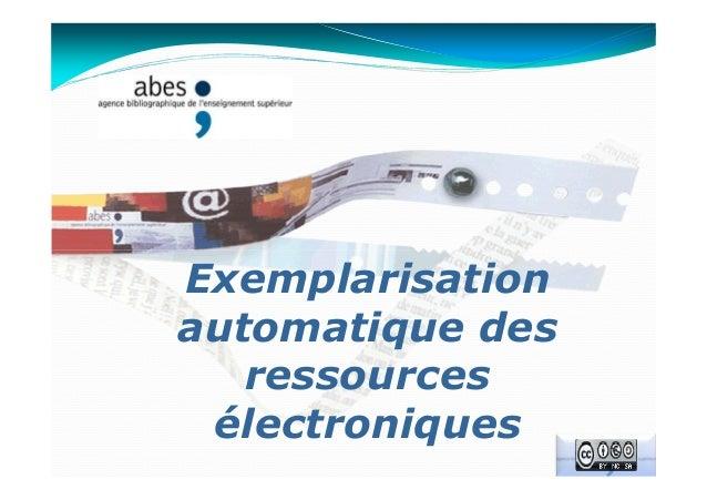 Exemplarisation automatique des ressources électroniques