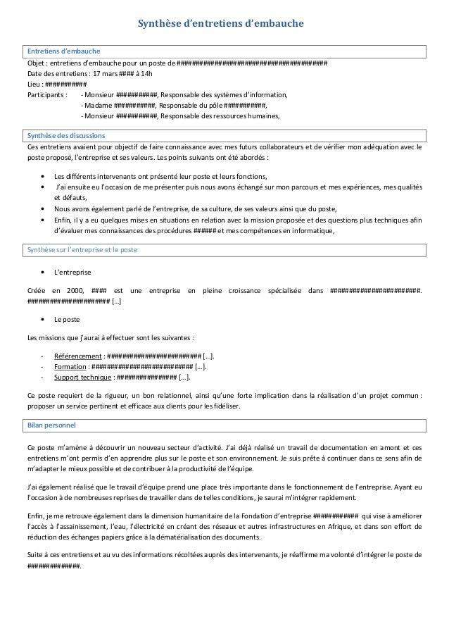 Synthèse d'entretiens d'embauche Entretiens d'embauche Objet : entretiens d'embauche pour un poste de ####################...
