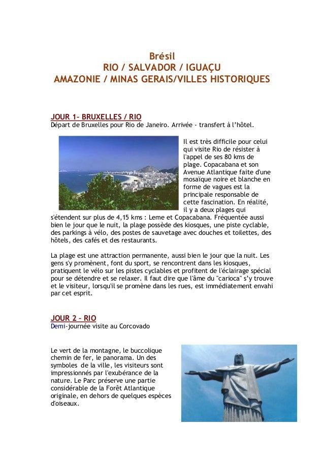 Brésil RIO / SALVADOR / IGUAÇU AMAZONIE / MINAS GERAIS/VILLES HISTORIQUES JOUR 1– BRUXELLES / RIO Départ de Bruxelles pour...
