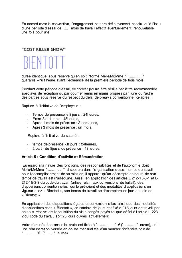 Example Of Contract French