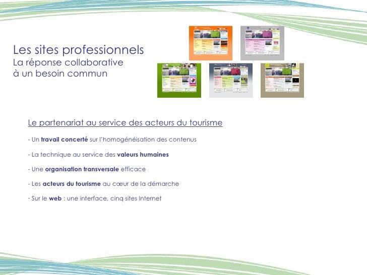 Les sites professionnels La réponse collaborative  à un besoin commun <ul><li>Le partenariat au service des acteurs du tou...