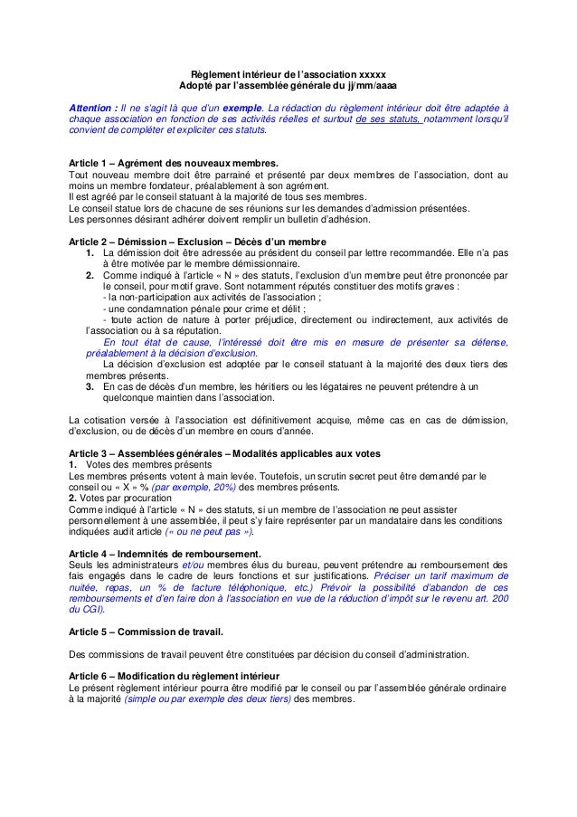 Exemple de reglement interieur for Exemple reglement interieur sisa