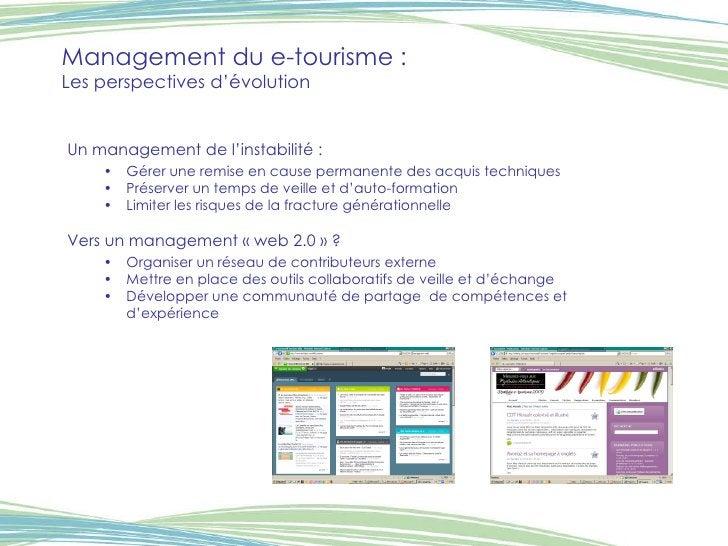 Management du e-tourisme :  Les perspectives d'évolution <ul><li>Un management de l'instabilité : </li></ul><ul><ul><li>Gé...