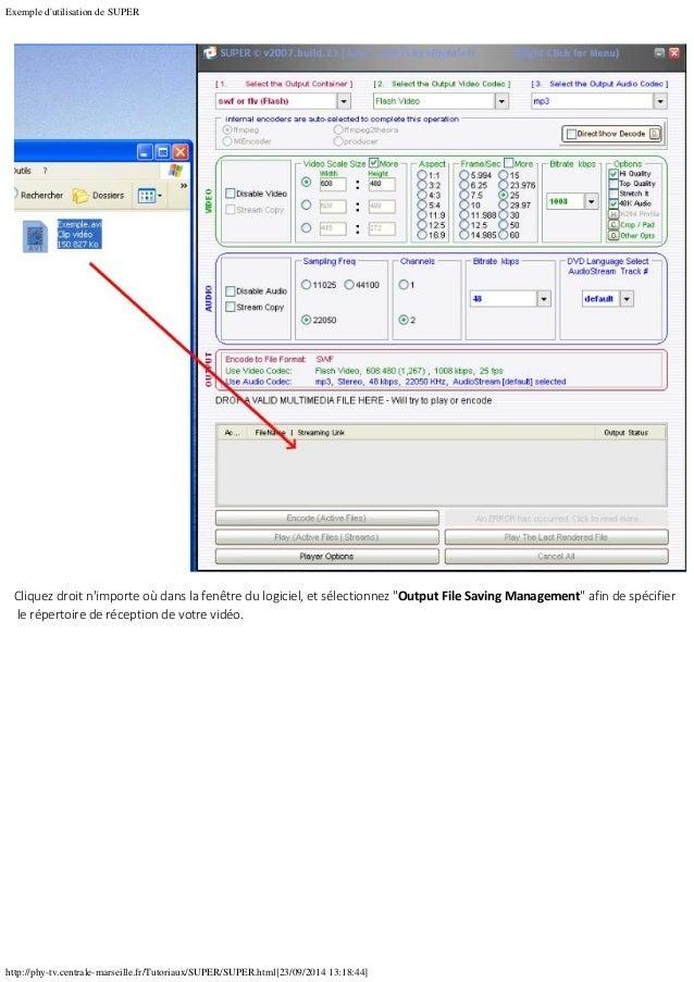 Exemple d'utilisation de SUPER http://phy-tv.centrale-marseille.fr/Tutoriaux/SUPER/SUPER.html[23/09/2014 13:18:44] Cliquez...