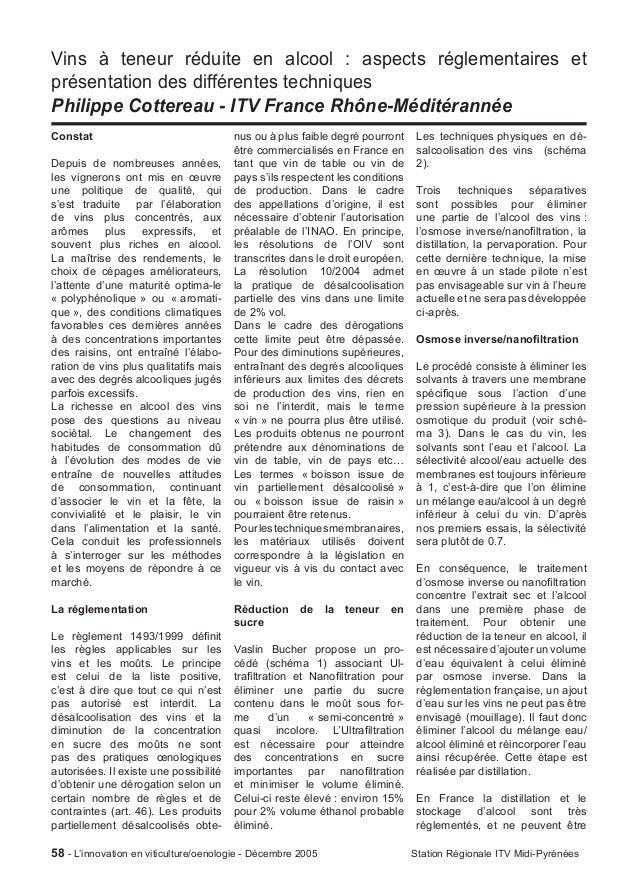 Vins à teneur réduite en alcool : aspects réglementaires etprésentation des différentes techniquesPhilippe Cottereau - ITV...