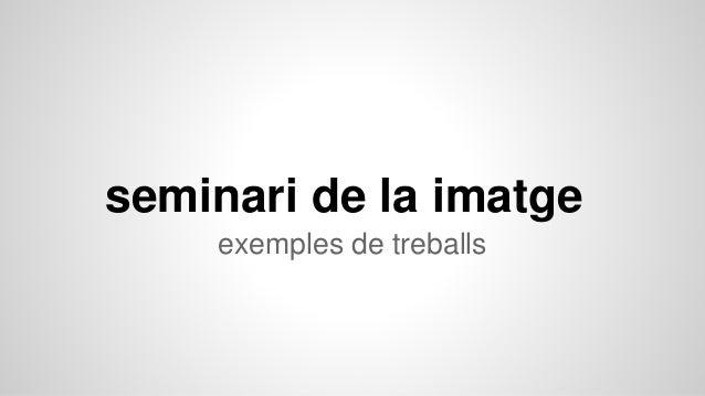 seminari de la imatge exemples de treballs