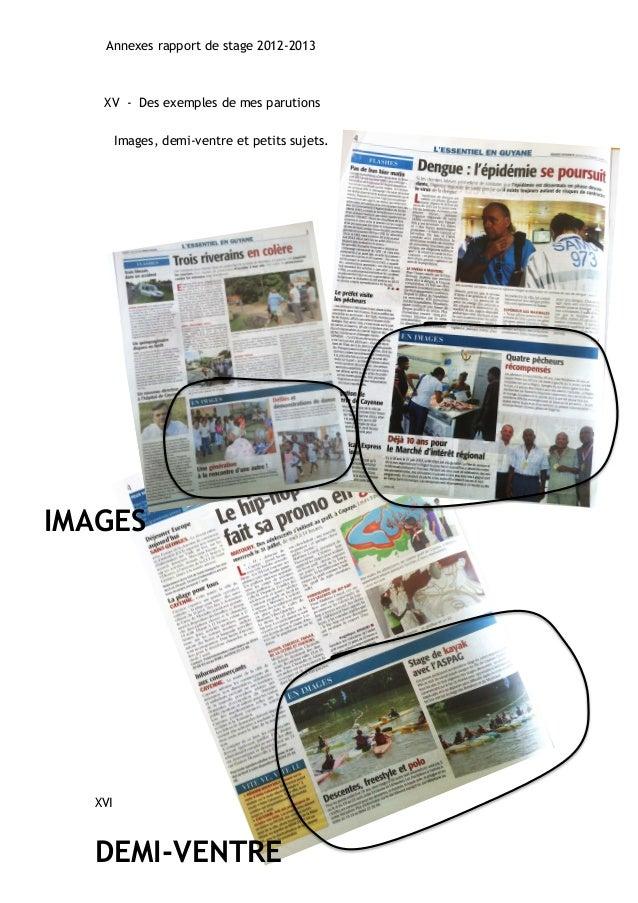 Annexes rapport de stage 2012-2013  XV - Des exemples de mes parutions  Images, demi-ventre et petits sujets.  IMAGES  XVI...