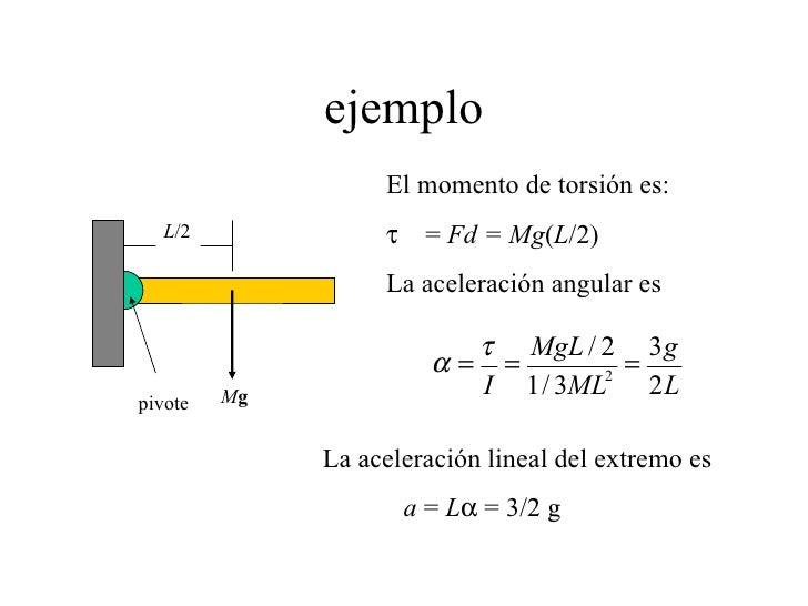 ejemplo L /2 M g pivote El momento de torsión es:    =  Fd = Mg ( L /2) La aceleración angular es La aceleración lineal ...