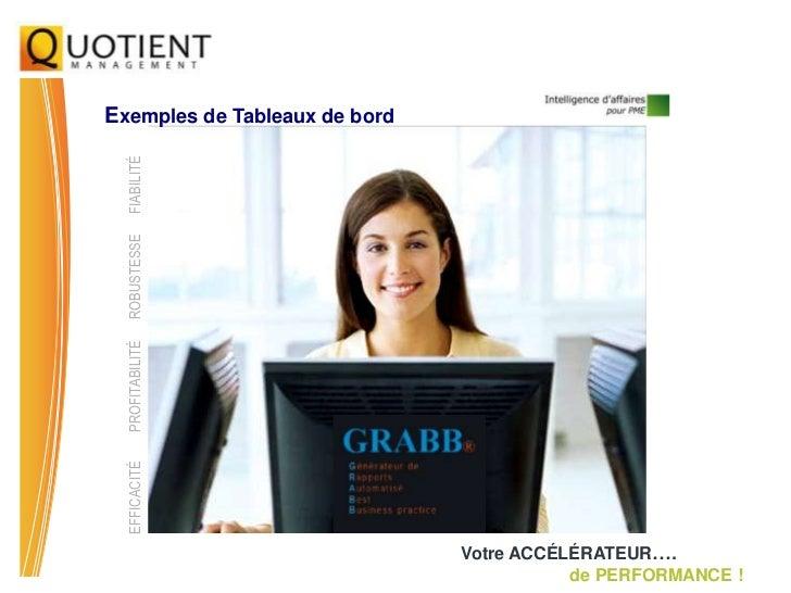 Exemples de Tableaux de bord  FIABILITÉ  ROBUSTESSE  PROFITABILITÉ  EFFICACITÉ                               Votre ACCÉLÉR...