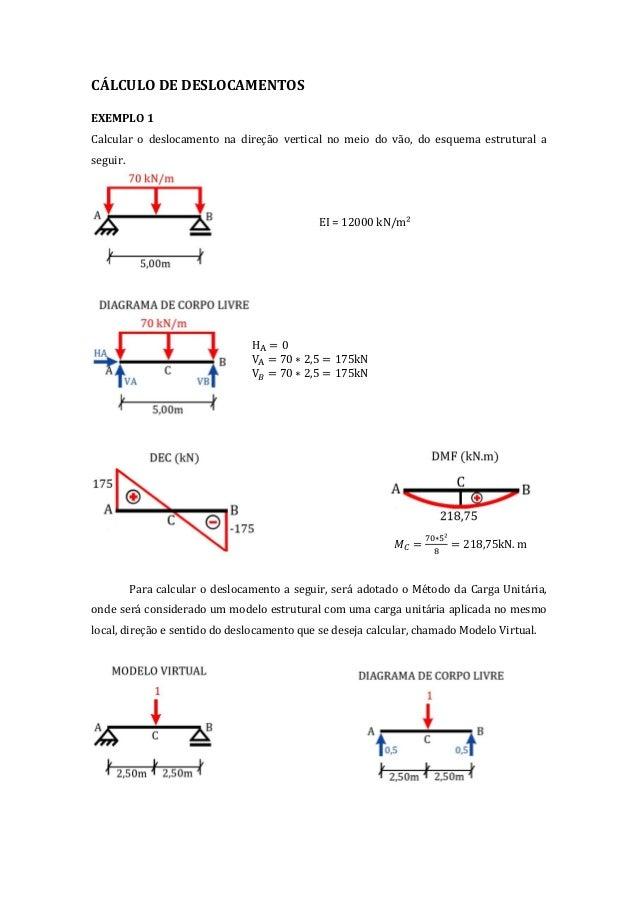 CÁLCULO DE DESLOCAMENTOS EXEMPLO 1 Calcular o deslocamento na direção vertical no meio do vão, do esquema estrutural a seg...