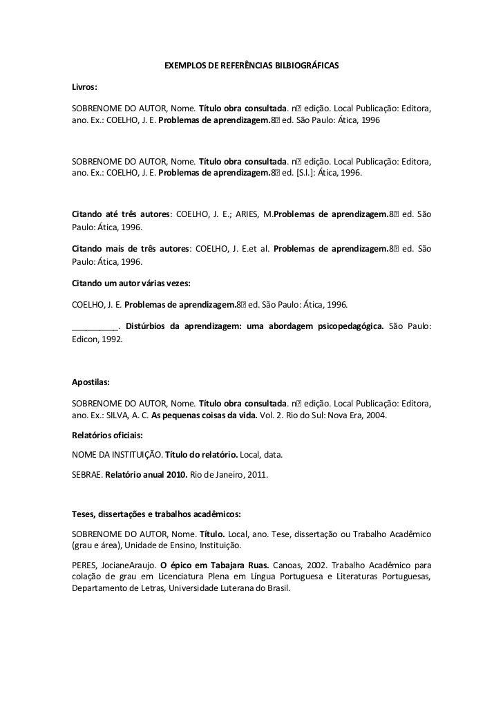 EXEMPLOS DE REFERÊNCIAS BILBIOGRÁFICAS<br />Livros:<br />SOBRENOME DO AUTOR, Nome. Título obra consultada. nᵒ edição. Loca...