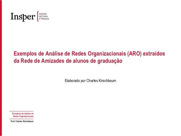 Exemplos de Análise de Redes Organizacionais (ARO) extraídos da Rede de Amizades de alunos de graduação Elaborado por Char...