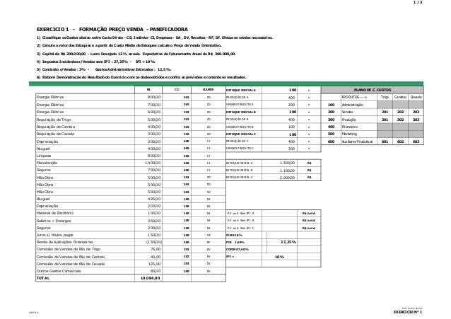 1/3  EXERCICIO 1 - FORMAÇÃO PREÇO VENDA - PANIFICADORA 1) Classifique os Gastos abaixo entre Custo Direto - CD, Indireto- ...