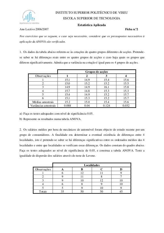 INSTITUTO SUPERIOR POLITÉCNICO DE VISEU ESCOLA SUPERIOR DE TECNOLOGIA Estatística Aplicada Ano Lectivo 2006/2007 Ficha n.º...