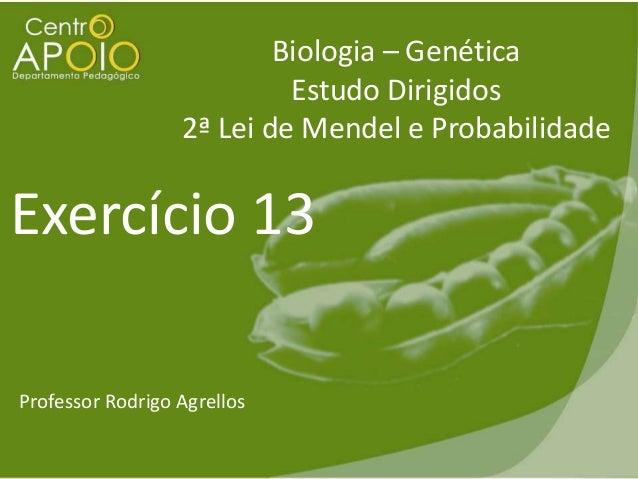 Biologia – Genética Estudo Dirigidos 2ª Lei de Mendel e Probabilidade  Exercício 13 Professor Rodrigo Agrellos