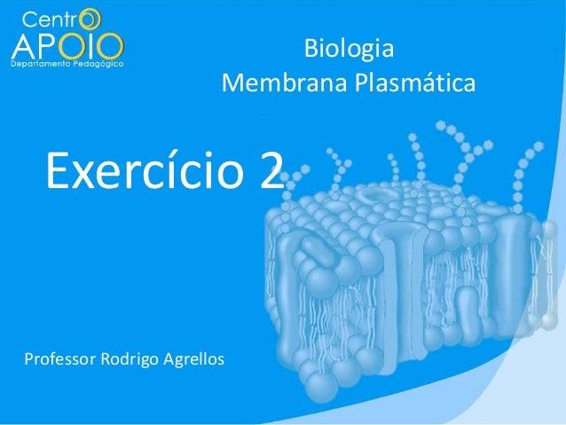 Biologia Membrana Plasmática  Exercício 2  Professor Rodrigo Agrellos