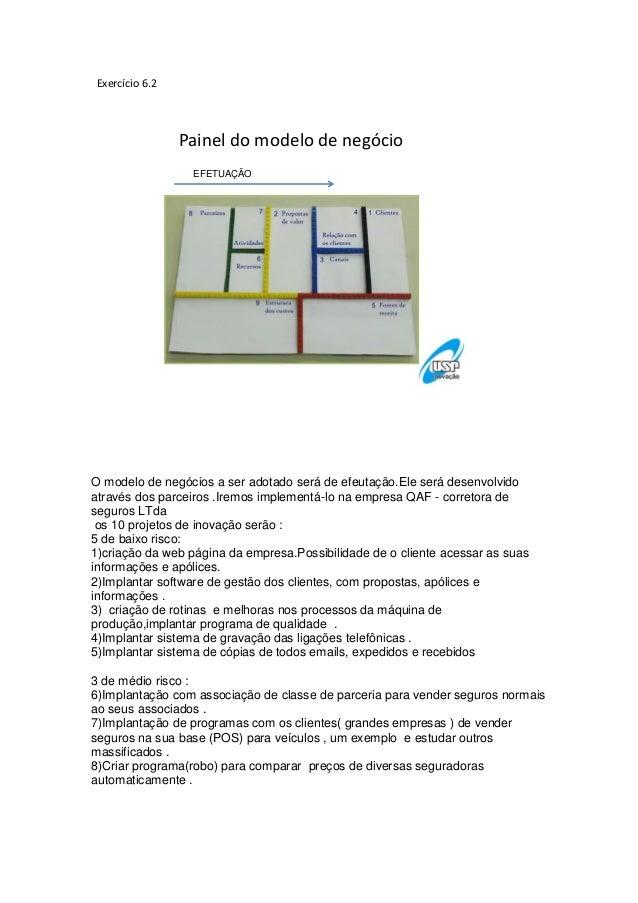 Exercício 6.2Painel do modelo de negócioEFETUAÇÃOO modelo de negócios a ser adotado será de efeutação.Ele será desenvolvid...