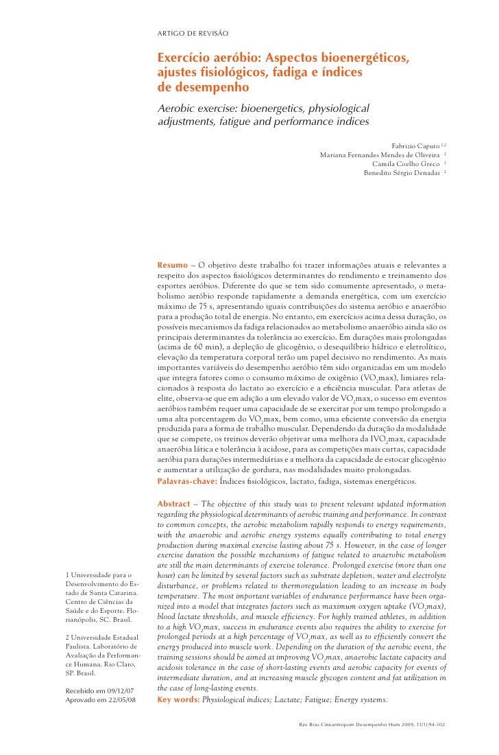 ARTIGO DE REVISÃO                           Exercício aeróbio: Aspectos bioenergéticos,                           ajustes ...