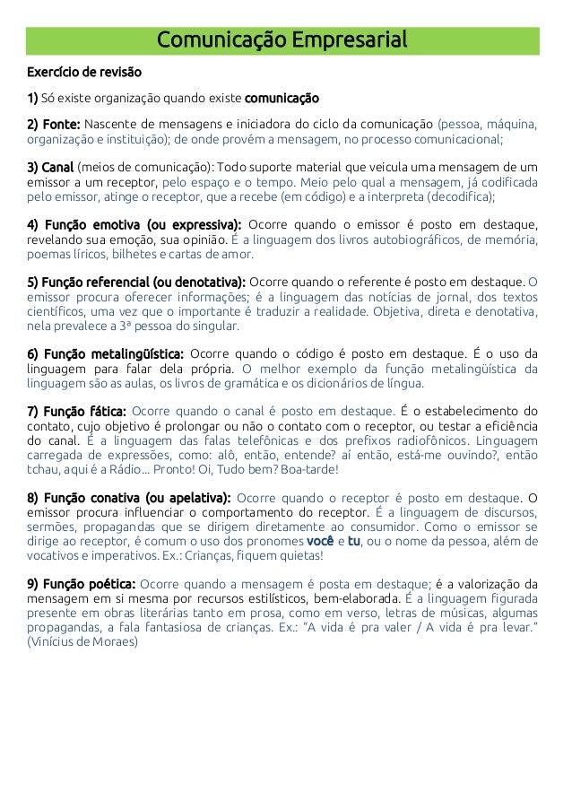 Comunicação Empresarial Exercício de revisão 1) Só existe organização quando existe comunicação 2) Fonte: Nascente de mens...