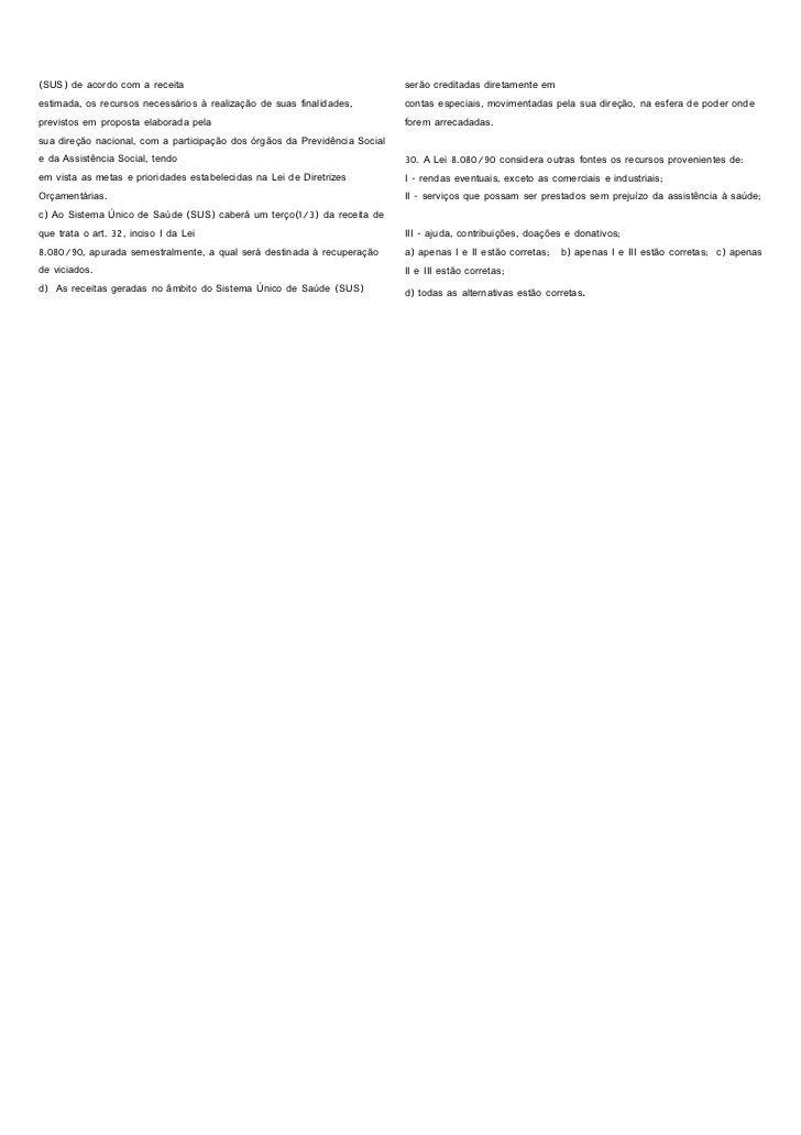 Exercício e gabarito da lei 8080 e 8142