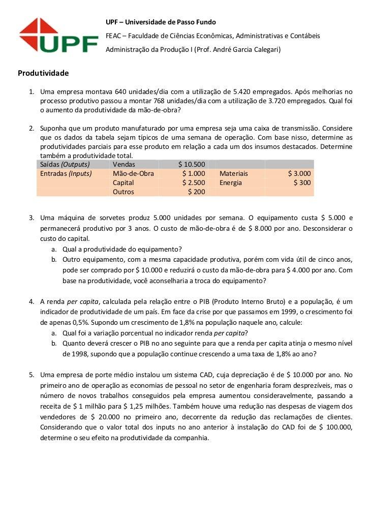 UPF – Universidade de Passo Fundo                          FEAC – Faculdade de Ciências Econômicas, Administrativas e Cont...