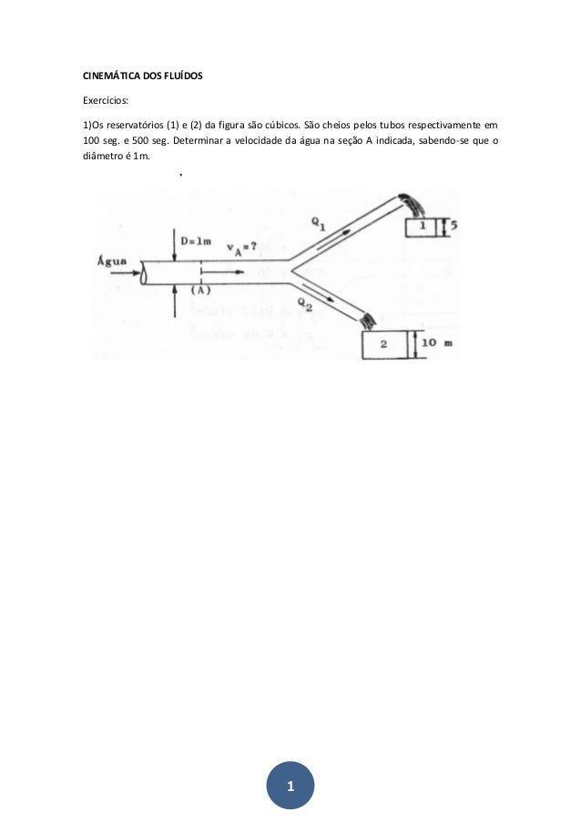 1 CINEMÁTICA DOS FLUÍDOS Exercícios: 1)Os reservatórios (1) e (2) da figura são cúbicos. São cheios pelos tubos respectiva...