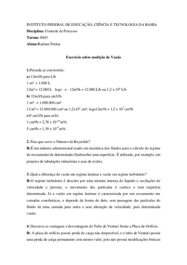 INSTITUTO FEDERAL DE EDUCAÇÃO, CIÊNCIA E TECNOLOGIA DA BAHIADisciplina: Controle de ProcessoTurma: 8843Aluna:Railane Freit...