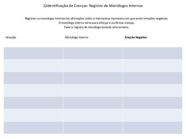 1)Identificação de Crenças: Registro de Monólogos Internos Situação Monólogo Interno Emoção Negativa Registrar os monólogo...