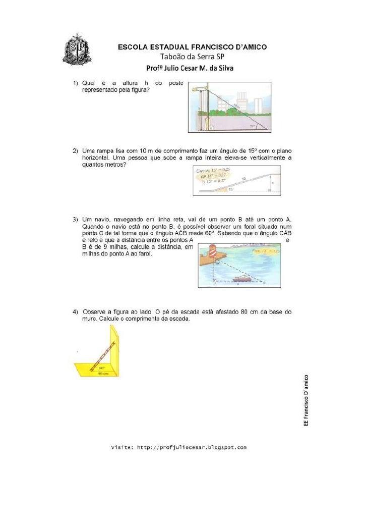 Exercícios de razões trigonométricas