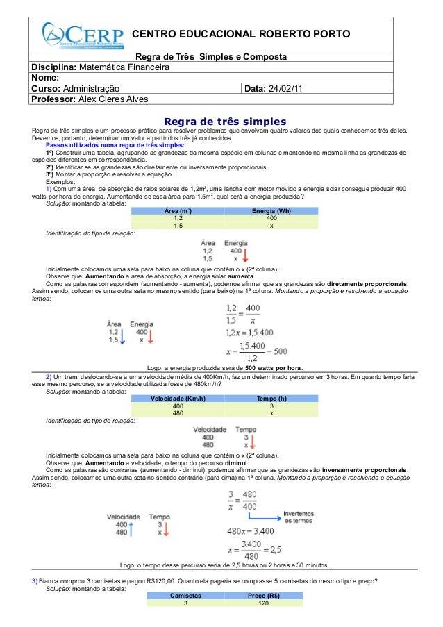 CENTRO EDUCACIONAL ROBERTO PORTORegra de Três Simples e CompostaDisciplina: Matemática FinanceiraNome:Curso: Administração...