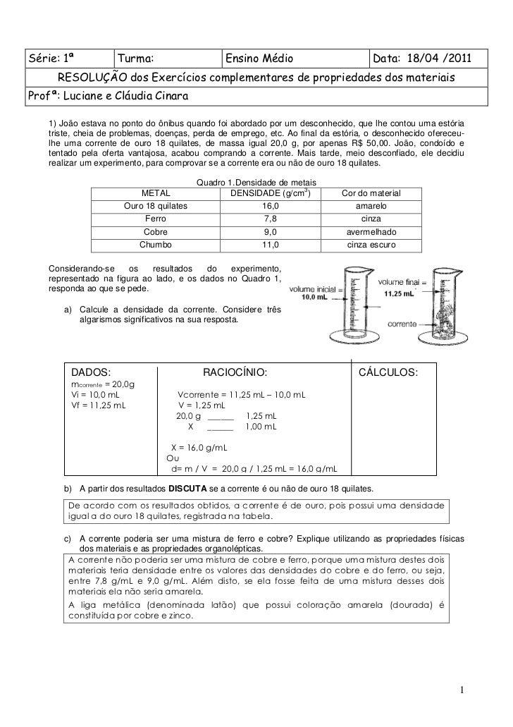 Série: 1ª           Turma:                        Ensino Médio                         Data: 18/04 /2011     RESOLUÇÃO dos...