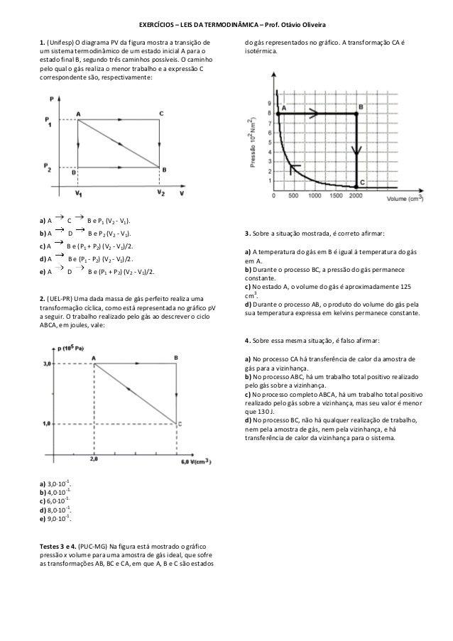 EXERCÍCIOS – LEIS DA TERMODINÂMICA – Prof. Otávio Oliveira 1. (Unifesp) O diagrama PV da figura mostra a transição de um s...