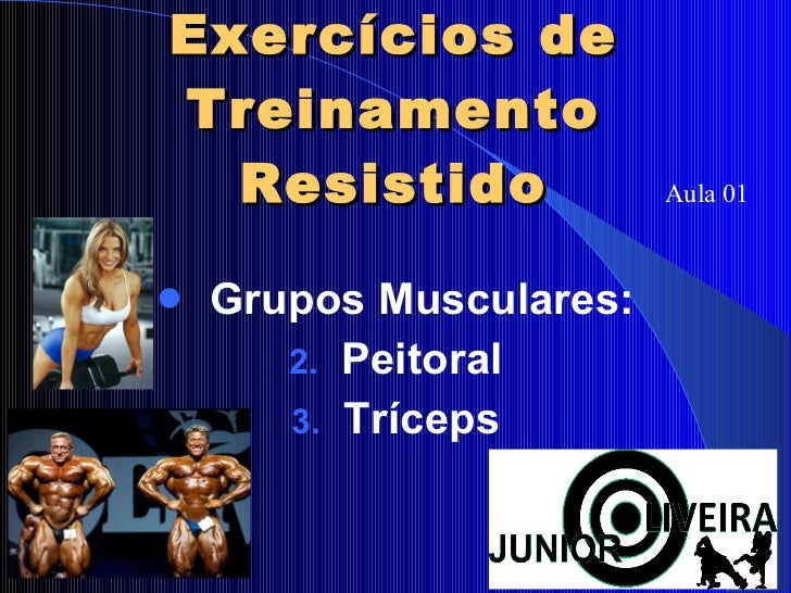 Exercícios de Treinamento Resistido <ul><li>Grupos Musculares: </li></ul><ul><li>Peitoral </li></ul><ul><li>Tríceps </li><...