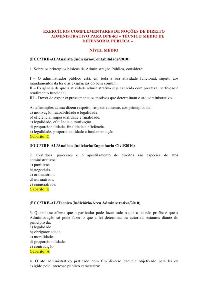 EXERCÍCIOS COMPLEMENTARES DE NOÇÕES DE DIREITO           ADMINISTRATIVO PARA DPE-RJ – TÉCNICO MÉDIO DE                    ...