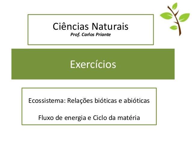 Exercícios Ecossistema: Relações bióticas e abióticas Fluxo de energia e Ciclo da matéria Ciências Naturais Prof. Carlos P...